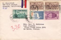 USA LP-Brief Mit Schöner 5 Fach Frankierung Gel.1958 Alameda Cal. > Le Havre France , Sonderstempel - Vereinigte Staaten