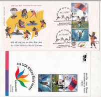 FDC+ Info. (Tiruchi) CISM Military World Games  Swimming Sailing Football Boxing Wrestling Cycling, Parachute India 2007 - Voetbal