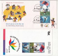 FDC+ Info. (Chennai) CISM Military World Games  Swimming Sailing Football Boxing Wrestling Cycling, Parachute India 2007 - Voetbal
