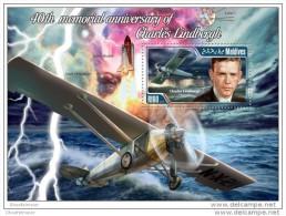 MALDIVES 2014 ** S/S Charles Lindbergh Aircraft Flugzeuge Avion Vliegtuig B1421