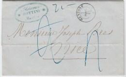 82984 - LAC Cad Sarde MENTONE * Dic 1857, Diverses Taxes Et Cachet Dateur Au Verso TB - Sardinien