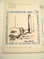 BARI TIMBRO  MANIFESTAZIONE  FILATELICA  NUMISMATICA  LEVANTE  1980  PUGLIA  NON   VIAGGIATA COME DA FOTO - Manifestazioni