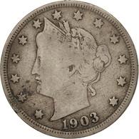 États-Unis, Liberty Nickel, 5 Cents, 1903, U.S. Mint, Philadelphia, TB, Copp... - Federal Issues