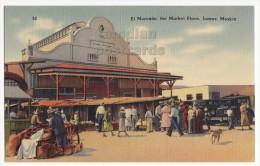 MEXICO JUAREZ EL MERCADO PUBLIC MARKET SCENE~CARS and SHOPPERS~c1940s vintage postcard [6040]