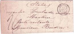 1851- Lettre En Port Du De CHATOU ( Ex. S. & Oise ) Cad T15  Pour Mantoue ( Italie ) Taxe 26 - 1849-1876: Période Classique