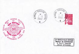 FASM  MONTCALM  MISSION ETOILE POLAIRE  TOULON NAVAL 7/5/02 - Marcophilie (Lettres)