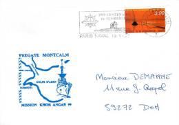 FREGATE MONTCALM  MISSION KHOR ANGAR 99 PARIS NAVAL 10/5/99 TIMBRE ILE DE NOIRMOUTIER - Marcophilie (Lettres)