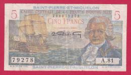 SAINT PIERRE ET MIQUELON 5 FRANCS DE 1950  REF 40216 - Colonies