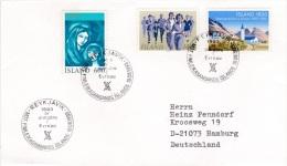 Iceland Cover P/m Reykjavik 1993 Mot Fimleiksambands Islands (G81-56) - 1944-... Republique