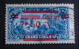 SURCHARGE ROUGE REPUBLIQUE LIBANAISE 1927 - OBLITERE - YT 93 - MI 130 - Liban