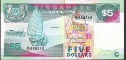 SINGAPORE  P19  5  DOLLARS  1989    VF  2 P.h. ! - Singapour