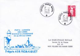 FREGATE ASM PRIMAUGUET SEA 2000 FNFA LINKED  ESCALE A LISBONNE PARIS NAVAL 22/5/2000 - Marcophilie (Lettres)