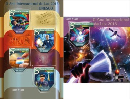 Sao Tome 2016 International Year Of Light Thomas Edison Bulb Physics Telescope MS+S/S ST15510 - Célébrités