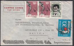 """Uruguay 1963, Airmail Cover Nueva Helvecia To Wien W./postmark """"Nueva Helvecia"""", Ref.bbzg - Uruguay"""