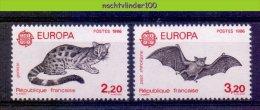 Mdl031 FAUNA VLEERMUIS VLEERMUIZEN BATS FLUGHUND FLEDERMÄUSE CHAUVE SOURIS PROTECTION EUROPA CEPT FRANCE 1986 PF/MNH - Vleermuizen