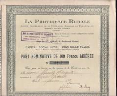 La Providence Rurale - Part Nominative De 100frs Libérée - Actions & Titres