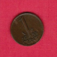 NETHERLANDS  1 CENT 1955 (KM # 180) - [ 3] 1815-… : Kingdom Of The Netherlands