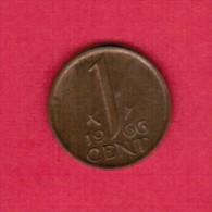 NETHERLANDS  1 CENT 1966 (KM # 180) - [ 3] 1815-… : Kingdom Of The Netherlands
