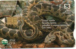 Serpent  Reptile Snake Animal Télécarte Chypre Phonecard  Telefonkarte J173 - Chypre