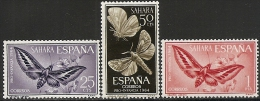 SAHARA-1964-ED. 225 A 227 COMPLETA- PRO INFANCIA. MARIPOSAS -NUEVO SIN FIJASELLOS - Sahara Español