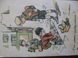 """CPA Illustrateur Poulbot Colorisée édition Henri Chachoin Enfants """"tu As Perdu Quelque Chose? - Poulbot, F."""