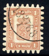 FINLAND 1867 1 Mk. Brown/white Roulette II.  Fournier Forgery.  As Michel 10B - Usados