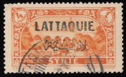 """LATAKIA - Scott #14 Square At Damascus """"Overprinted"""" / Used Stamp - Oblitérés"""