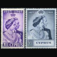 CYPRUS 1948 - Scott# 158-9 S.Wedding Set Of 2 MNH Back Toned - Zypern (...-1960)