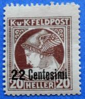 AUSTRIA ITALY FELDPOST 22 Centesimi / 20 Heller 1918  Perf: 12 1/2 MERCURY - UNUSED WITH FALZ