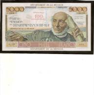 Billet Réunion P56 100 Nouveaux Francs Sur 5000francs (schoeler)RRR - Reunion