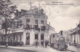 BAD-MONDORF  Der Bahnhof  (vicinalbahn Mondorf-Diedenhofen ) Train Bien Animée Hotl-restaurant Circulé En 1910 - Mondorf-les-Bains