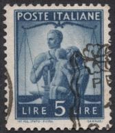 Italy, 5 L. 1945, Scott # 472, Mi # 694, Used. - 5. 1944-46 Lieutenance & Umberto II