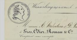 RARE 1855 ENTETE GROS ODIER ROMAN  TISSAGE  COTON à WESSERLING Pour MM.STEHELIN & SCHOENAUER à THANN T.B.E. V.SCANS+HIST - France