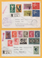 Luxemburg / 2 Einschreiben Von Luxemburg Nach Deutschland Von 1969 + 1972 - Mischfrankatur - Europa + Caritas Marken - Brieven En Documenten