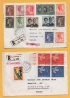 Luxemburg / 2 Einschreiben Von Luxemburg Nach Barcelona / Spanien Von 1970 - Mischfrankatur - U.a. Europa - Brieven En Documenten