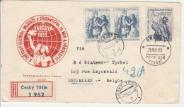 Cesky Tesin 1955 - Lettre Cover Brief - Recommandé Registered - Checoslovaquia