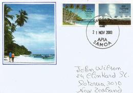 (Return To Paradise Beach, Lefaga, Upolu Island)  Pacific Ocean, Lettre Adressée En Nouvelle-Zélande - Timbres