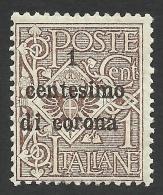 Austria, Italian Occupation, 1 C. On 1 C. 1919, Sc # N64, Mi # 1, MH. - 8. WW I Occupation