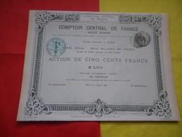 COMPTOIR CENTRAL DE FRANCE (imprimerie RICHARD) 1882 - Shareholdings