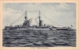 """04748 """"REGIA NAVE CONTE DI CAVOUR"""" BATTLE SHIP. CART. POST. ORIG. NON SPEDITA. - Guerra"""