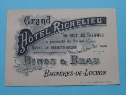 """"""" GRAND HOTEL RICHELIEU """" Prop. BINOS & BRAU - Bagnères-de-Luchon !! - Visiting Cards"""
