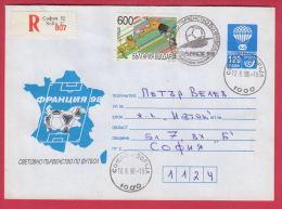 201417 / 1998 - 600+120 Leva ( 173 ) Balloon POST , Soccer Fussball 1998 FIFA World Cup FRANCE , Stationery Bulgaria - Sobres