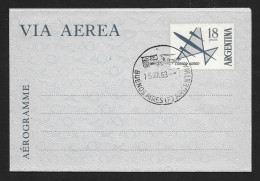 ARGENTINA Aerogramme 18p Airplane 1963 Buenos Aires FDC Cancel! STK#X20939 - Postal Stationery