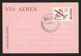 ARGENTINA Aerogramme 13p Airplane 1963 Buenos Aires FDC Cancel! STK#X20940 - Postal Stationery