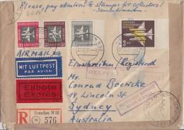 DDR R-Eilbote-Luftpost-Brief Mif Minr.609,610,612,614 Dresden 27.12.57 Australien Zurück !!!! - DDR
