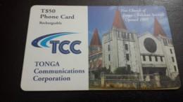 Tonga-free Cburch Of Tonga-falelotu Senituli Opened1985-(T$50)-used Card+2card Prepiad Free - Tonga