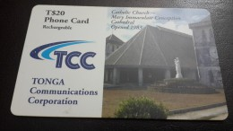 Tonga-catholic Church Mary Lmmaculate Conception Cathedrsl Opened 1983-(T$20)-used Card+1card Prepiad Free - Tonga