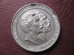 Norvege Médaille  Oscar II . Visite Du Kaiser Wilhelm II à Oslo 1890 .par Throndsen - Non Classés