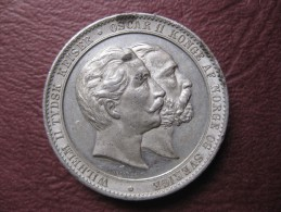 Norvege Médaille  Oscar II . Visite Du Kaiser Wilhelm II à Oslo 1890 .par Throndsen - Tokens & Medals