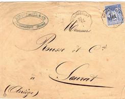 25 - Doubs - Convoyeur Station Voujaucourt B.BES Ligne 71  Oblitérant Timbre Sage 25c Bleu  - Janvier 1877 - Marcophilie (Lettres)
